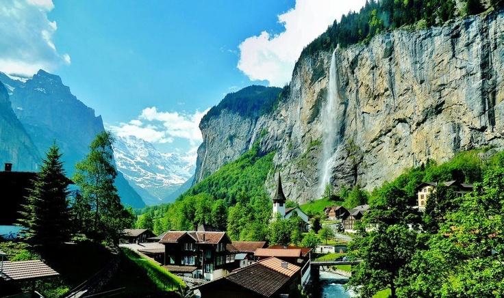 Valley of 72 Waterfalls , Lauterbrunnen , Bern , Switzerland