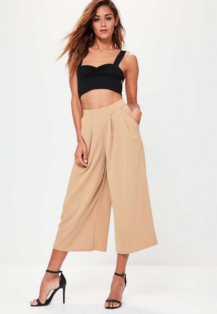Missguided - Tan Stretch Crepe Pleat Detail Wide Leg Culottes