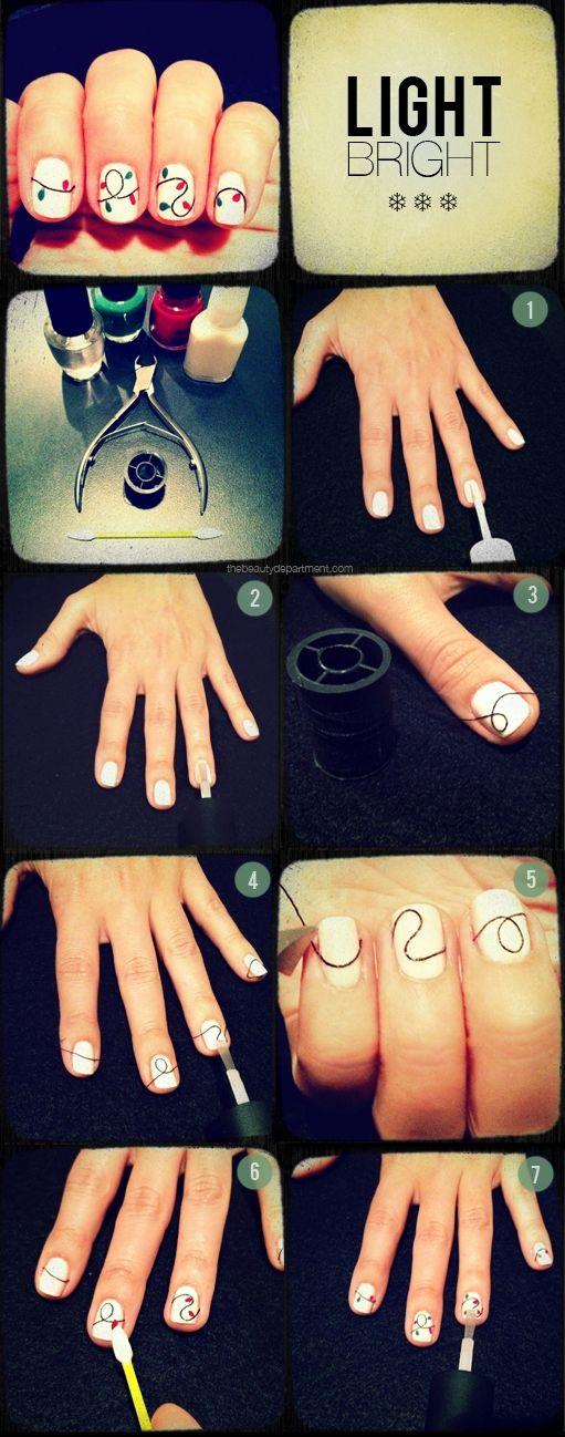 Christmas lights nail art:)