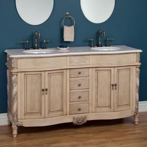 "If you love antique furniture, what's better than having a bathroom vanity that looks like an antique commode or dresser?  Here are several...: Antique White 73"" Double-Bowl Bathroom Vanity"