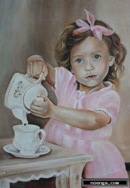 c het meisje met het theeservies figuratief impressionistisch