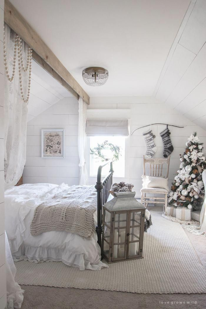 White and Cream Christmas Bedroom | simple bedroom | Christmas ...