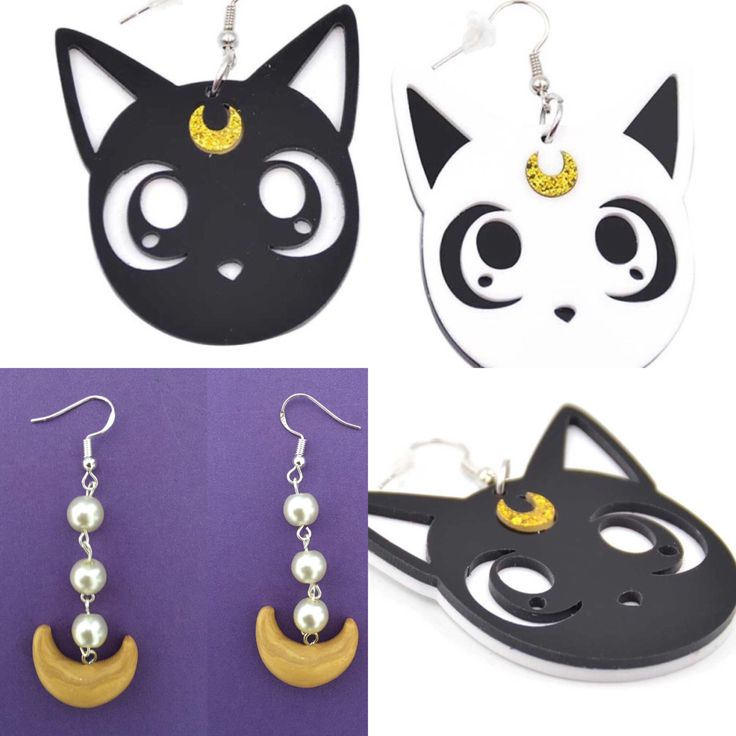 Sailor Moon Earrings, perfect accessories for your sailor moon costume, sailor moon cosplay, sailor moon jewelry, luna and artemis earrings by Mikarya on Etsy https://www.etsy.com/au/listing/483556813/sailor-moon-earrings-perfect-accessories