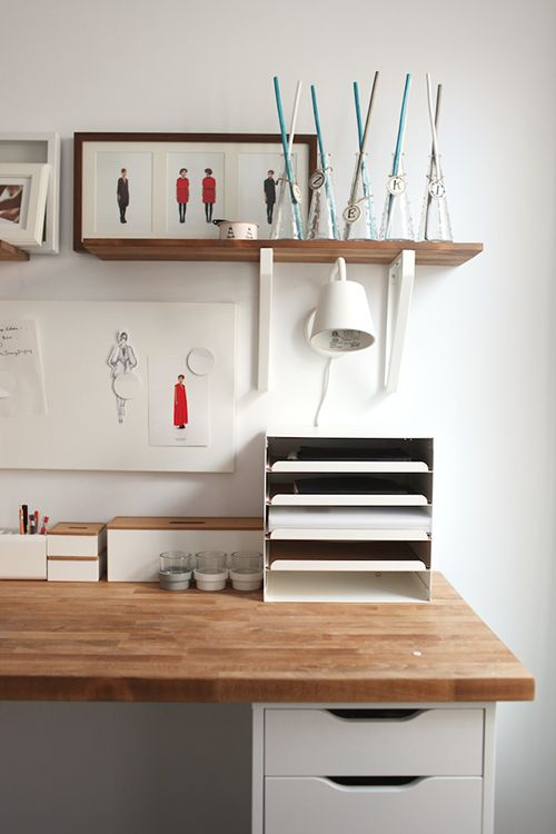 Workspace made from kitchen countertop | Design*Sponge