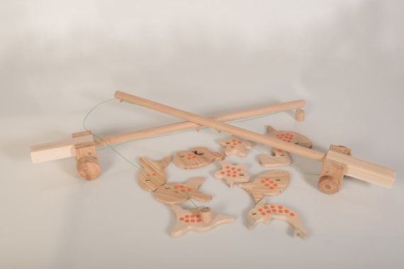 2 Fishing rods and 10 Sea creatures  Wooden Fishing by beigebois