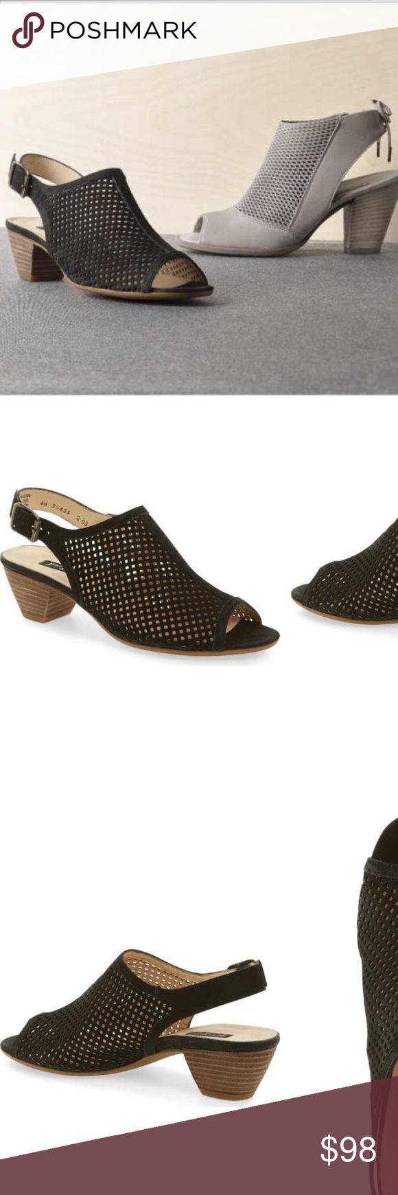 Paul Green Luis slingback shoes Like new in perfect condition. Paul green extremely comfy laser cut black top genuine leather shoes. Hand made. True to size U.K. 7 US 9 Paul Green Shoes