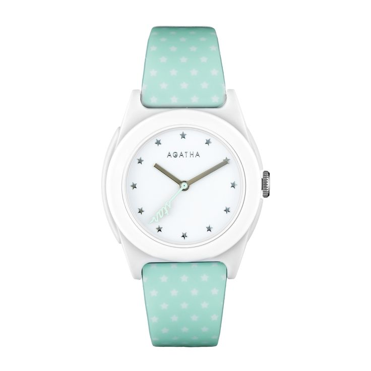 Round watch on pale green silicon bracelet with star design from the AGATHA Paris FREEDOM watch collection.