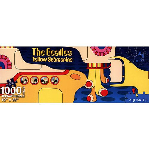 """Beatles Yellow Submarine 1000 Piece Slim Puzzle: This 1,000-piece puzzle features artwork from The Beatles' Yellow Submarine album. Any Beatles fan will enjoy piecing together this colorful puzzle! The puzzle measures 12"""" x 36"""" when complete.  $15.99  http://www.calendars.com/Beatles/Beatles-Yellow-Submarine-1000-Piece-Slim-Puzzle/prod201200008693/?categoryId=cat00083=cat00083#"""