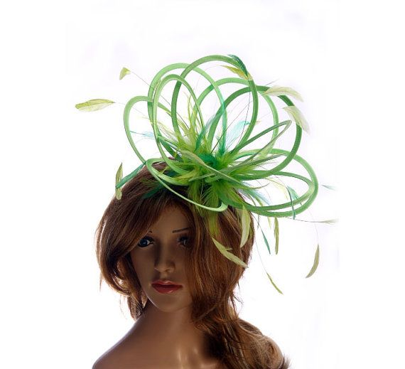 Lime Green Satin  Feather Fascinator Hat  by MaighreadStuart, £46.00
