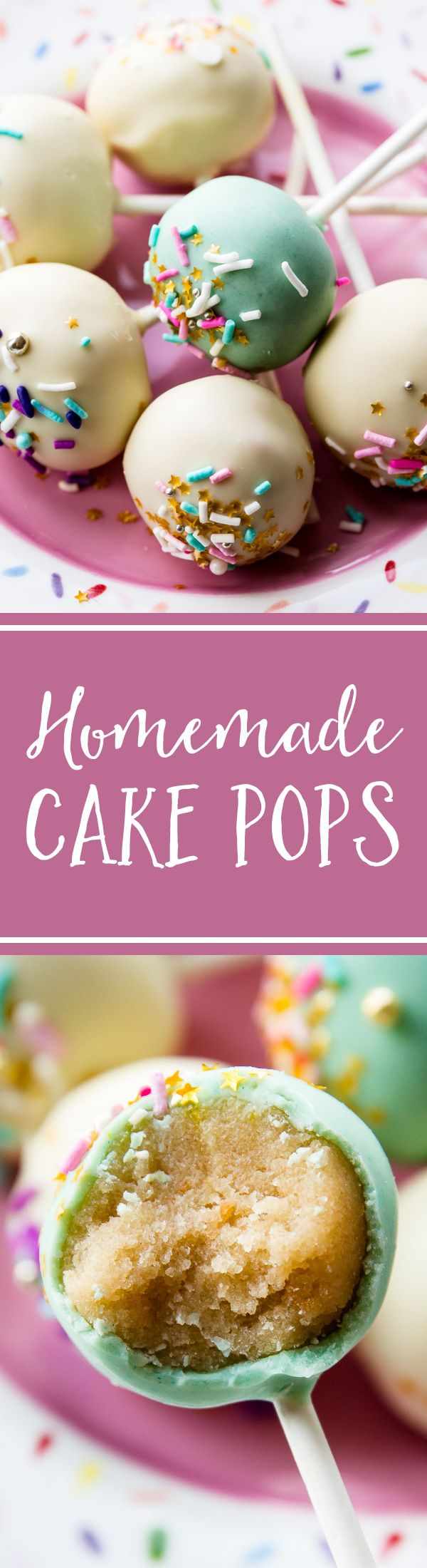 The BEST homemade cake pops! From-scratch cake with NO cake mix, from-scratch vanilla frosting and plenty of sprinkles! Tips, tricks, and recipe on sallysbakingaddiction.com