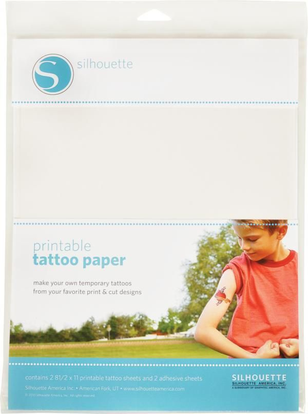 Silhouette America - Temporary Tattoo Paper - Silhouette temporary tattoos apply easily with water, generally last a day or two, and can be removed with a washcloth and warm water.  Simply print designs onto this unique paper with an inkjet printer. Then, with the included adhesive, use the Silhouette's Print & Cut feature to cut around each printed design.