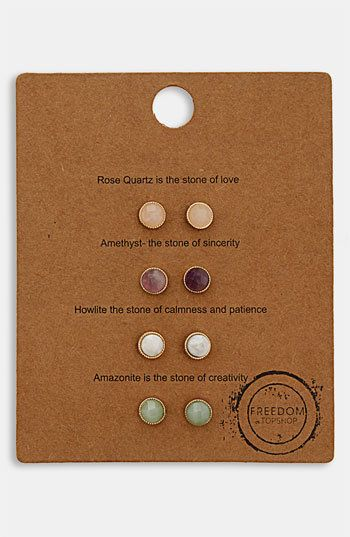 Topshop 'Message' Stud Earrings (Set of 4) | Nordstrom