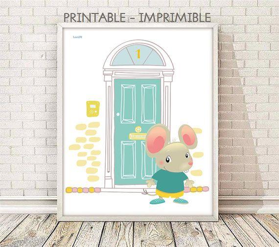 laminas infantiles, lamina raton perez, puerta raton perez, cuadro raton, laminas animales, cuadros animales, animales infantiles