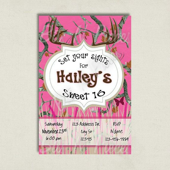 Pink Camouflage Invite Pink Camo  Birthday by BitsnPiecesEvents, $10.00