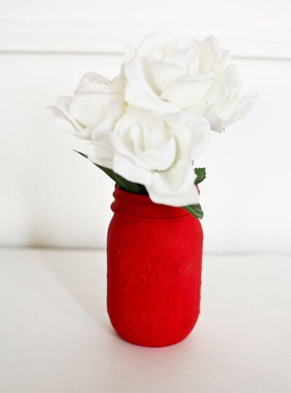 Painted Mason Jar Red - Wedding Centerpiece - Home Decor - Rustic Wedding - Flower Vase - Office Organizer - Dorm Decor - Red Centerpiece