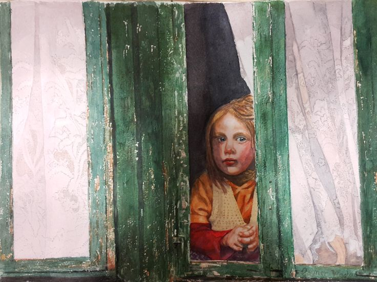 ''Girl in window, in watercolour by Gayner Vlastou