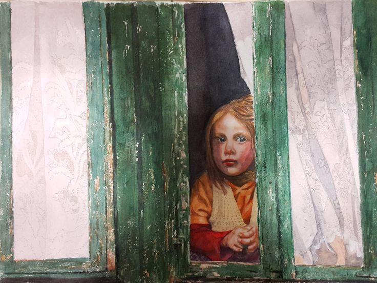 ''Girl in window, in watercolour by Gayner Vlastou