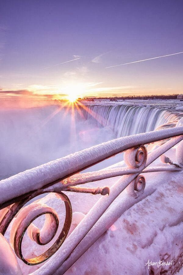 Frozen Sunrise, Niagara Falls........this kind of reminds me of Elsa's ice castle staircase from the Disney movie; Frozen.