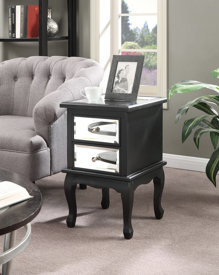 Halstead 2 Drawer Mirrored End Table