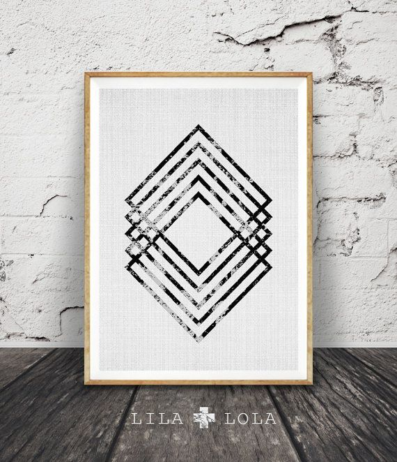 Geometric print scandinavian wall art black and white abstract printable digital download large poster modern minimalist scandi decor