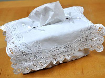 Battenburg Lace Cotton Tissue Box Cover