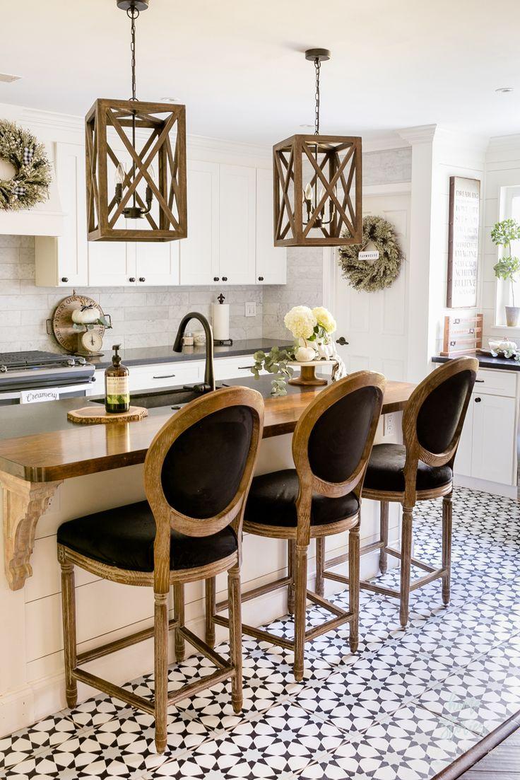 beautiful black white fall farmhouse kitchen french kitchen decor kitchen flooring home on farmhouse kitchen flooring id=32721