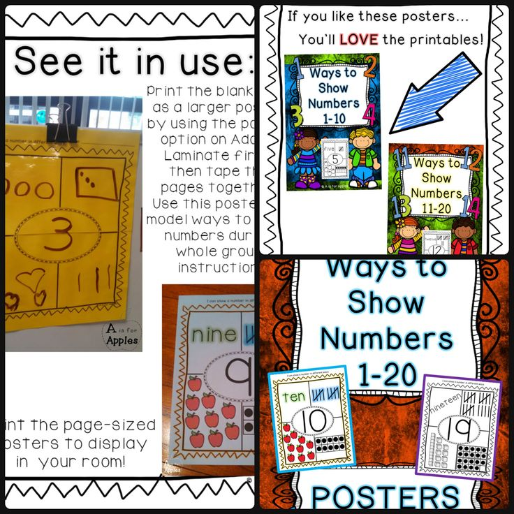 Posters for Ways to Show Numbers 1-20 - Use these posters to help students see the different ways they can make and show numbers. These are great to use when introducing this concept. (Posters are regular paper size, 8.5x11.)