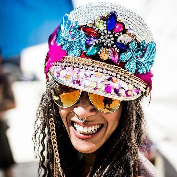CUSTOM CAPTAINS HAT, Burning Man, festival hat, party hat, officers cap, bespoke headdress, rave, plur