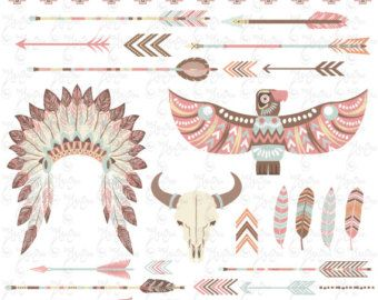 Tribal Clipart pack INDIAN CLIP ARTteepee tents