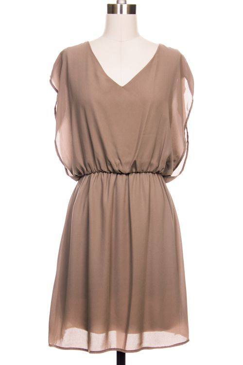 So light and comfortable! Sweet v-neck #dress available in Beige and #Olive. Flowy sleeve and slit back detail. Perfect transition piece between seasons!