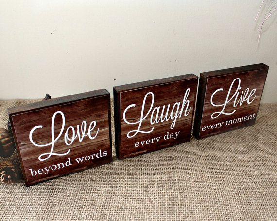 Live Laugh Love Wood Sign - Live Every Moment - Laugh Every Day - Love Beyond Words - Inspirational Home Decor Blocks - Valentines Day Gift