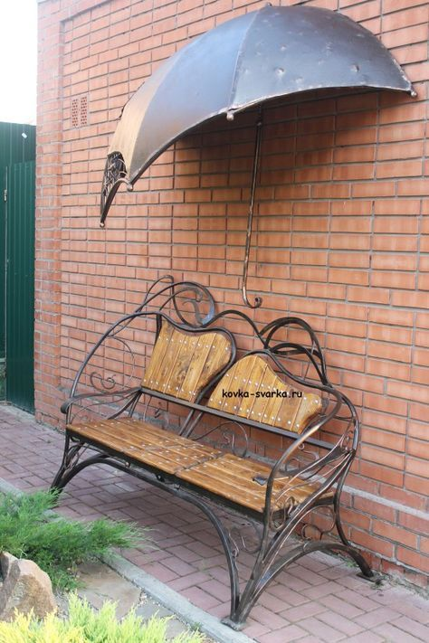 Wood and decorative iron outside bench - with Metal overhang for protection