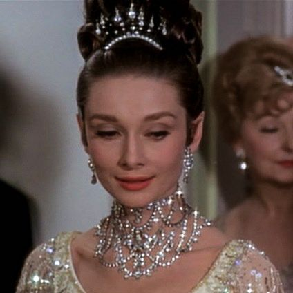The Glamorous Embassy Ball scene of My Fair Lady is an authentic catwalk of tiaras masterpieces - details of the tiara. Photo from the movie
