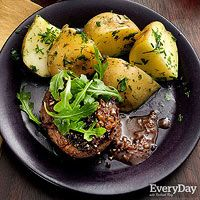 Three-Peppercorn Steaks with Herb Potatoes