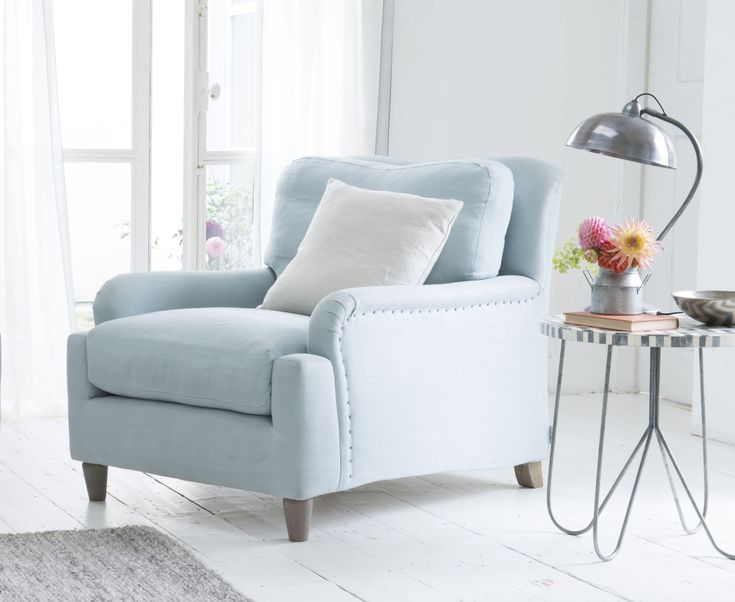 Loaf's Pavlova armchair in Cloud Blue vintage linen