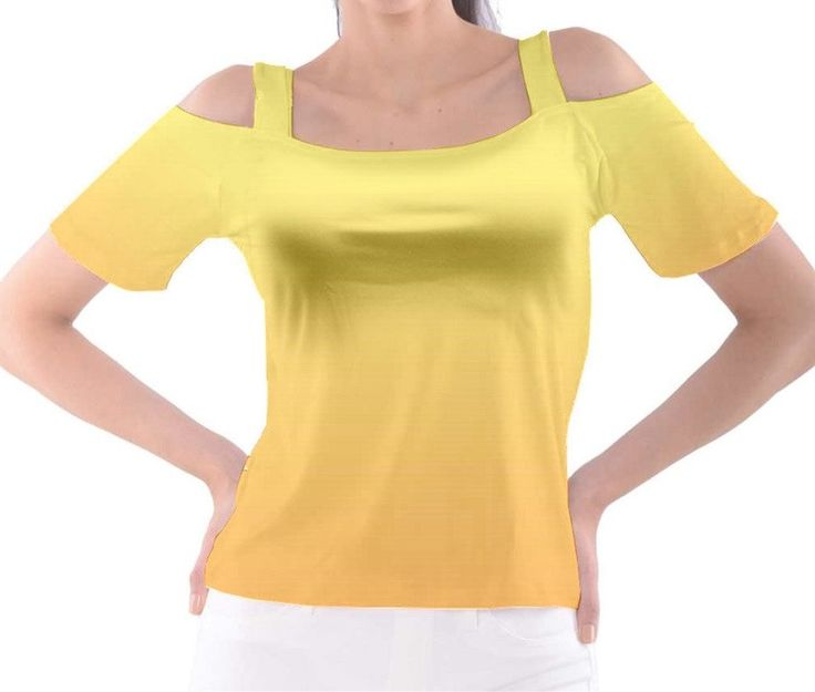 Yellow to Orange Ombre Cold Shoulder Tee