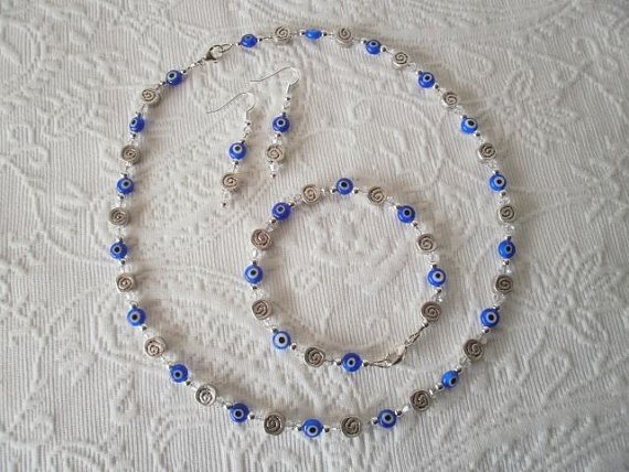 Greek Evil Eye and Swarovski Crystal necklace, bracelet & earrings set by JoTheGreek on www.Etsy.com