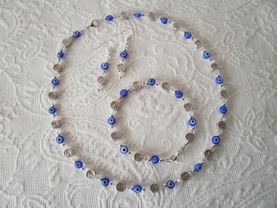 Greek Evil Eye and Swarovski Crystal necklace, bracelet & earrings set by JoTheGreek on www.Etsy.com