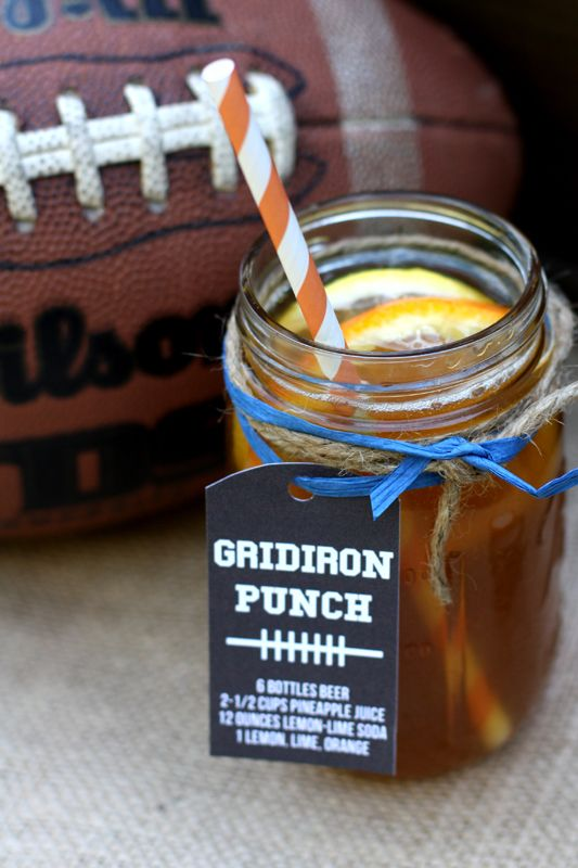 GRIDIRON PUNCH  6 bottles beer 2 ½ cups pineapple juice 12 ounces lemon-lime soda Lemon, lime, and orange for garnish Serves 6