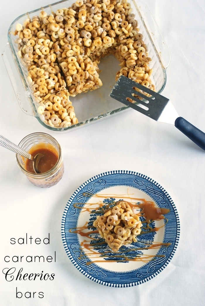 Salted Caramel Cheerio Bars - From ~ Bake at 350 - leftover caramel, leftover Cheerios = perfect recipe for this!!