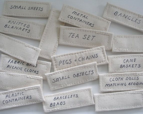 canvas labels for storage bags - they attach with velcro