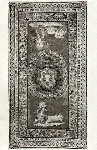Anonimo , Peruzzi Baldassarre; Giovanni da Udine; Pippi Giulio - sec. XVI - Stemma mediceo tra il carro del Sole e il carro della luna - insieme