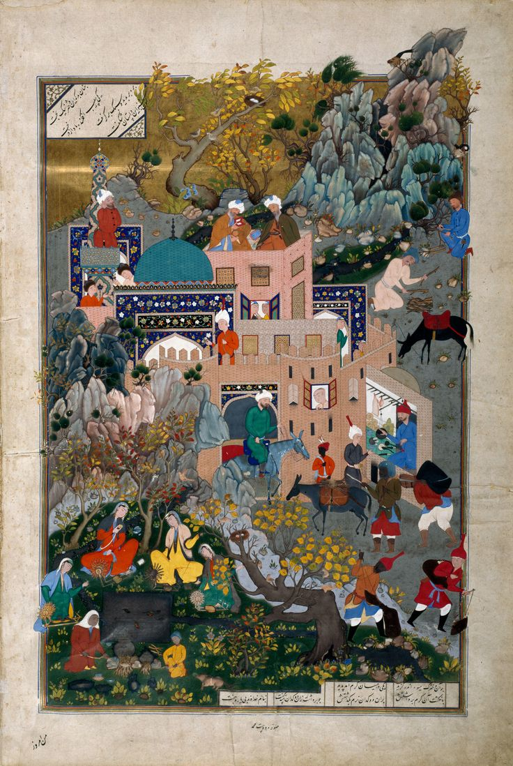 The story of Haftvad and the worm, folio from Shahnameh of Shah Tahmasp (Date: 1540 Place: Tabriz, Iran Materials: Opaque watercolour, gold, ink, paper)