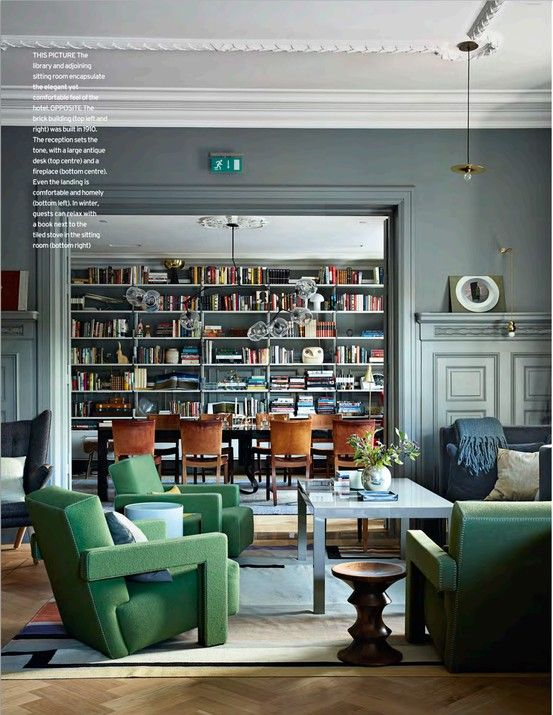 Fab gray with green blue and camel. Love the bookcases in the dining room. Isle Crawford.