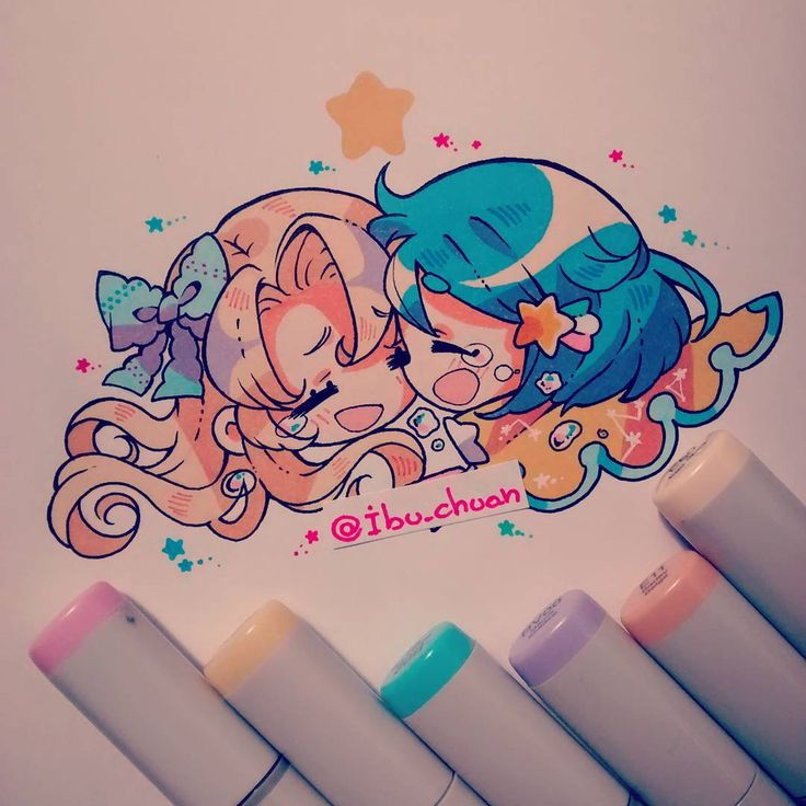 "This is my issy and I when we see each other after a long time. :)  ""Painted with copic sketch"" ""Chibi kinpatsu y nagareboshi san(?) Por el 2011"