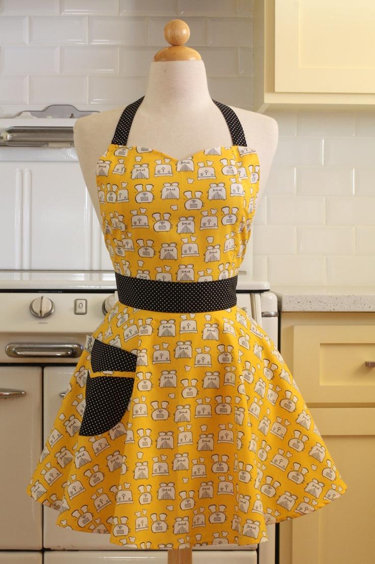 Ogilvies Designs Christmas Aprons Gloves Amp Tea Towels - Retro apron yellow toast