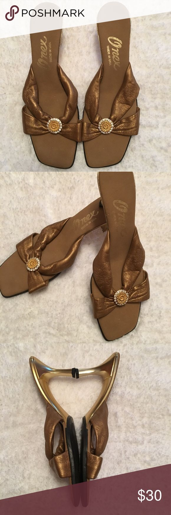 Beautiful Onex Bronx Jeweled Sandals Rhinestone accented Onex sandals size 10/40, in great condition Onex Shoes Heels