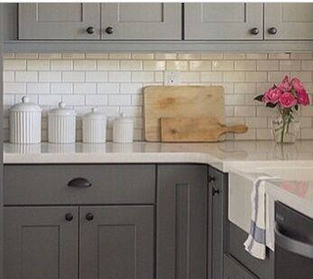 Small Gally Kitchen White Cabinets And Gray Subway Tile