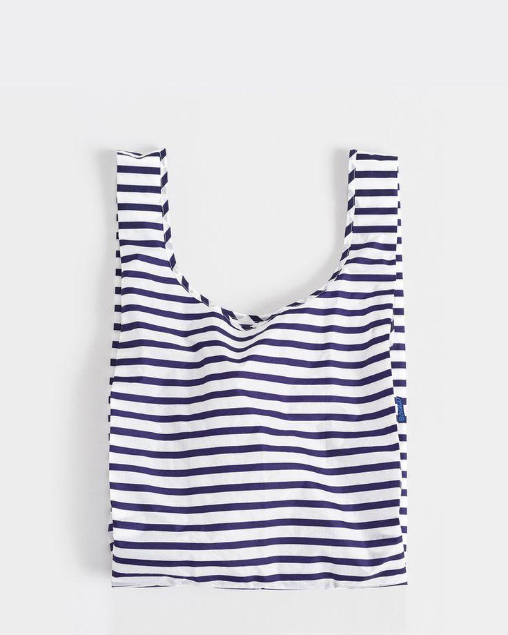 baggu reusable bag in blue white stripe sailor pattern