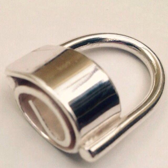 Modernist inspired silver swirl ring